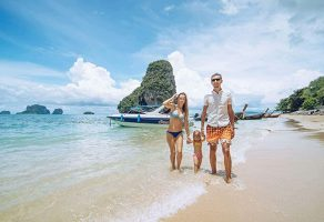 a family on a beach enjoying the krabi 4 island tour