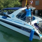 photo of speedboat with honda 225 outboard in thailand