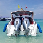 photo of speedboat with honda 150 outboard engines in thailand
