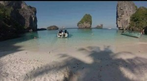 photo of empty beach and islands at phi phi krabi